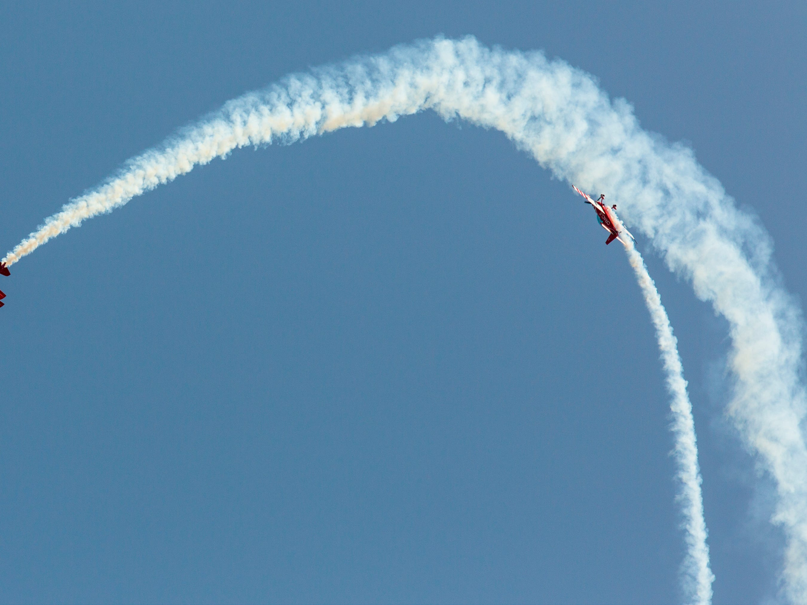 Sean D. Tucker and Jesse Panzer of Team Oracle perform stunts in the air during the California International Airshow Salinas at the Salinas Airport on March 23, 2019. (Photo by David Royal)