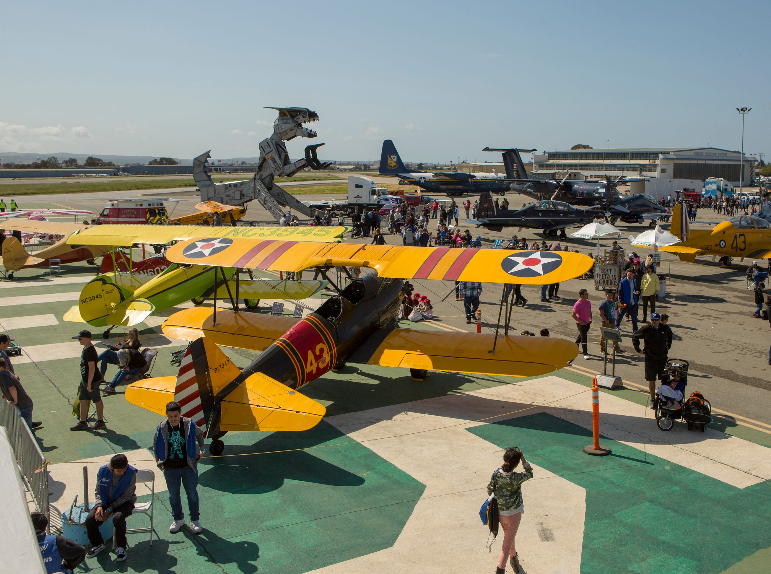 Planes sit on the tarmac during the California International Airshow Salinas at the Salinas Airport on March 23, 2019. (Photo by David Royal)