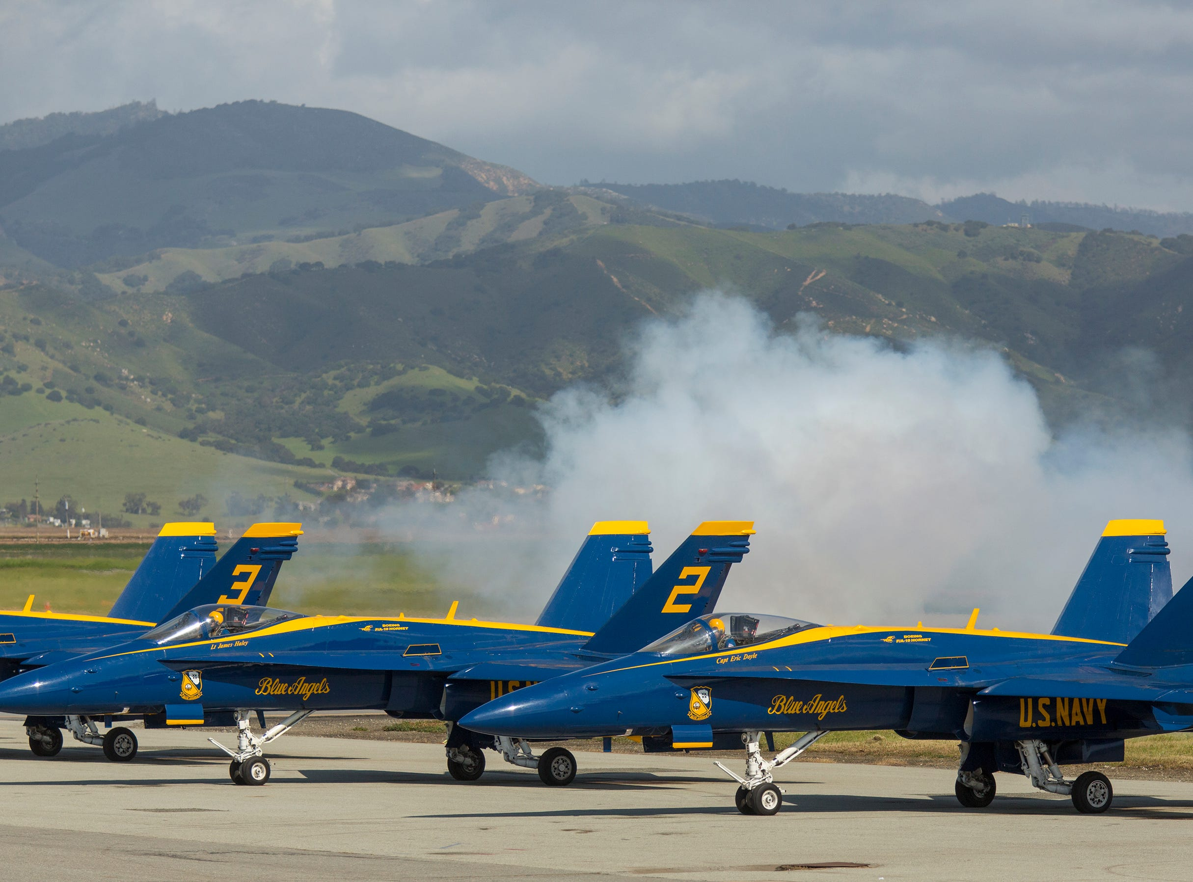 The Blue Angels get ready to takeoff during the California International Airshow Salinas at the Salinas Airport on March 23, 2019. (Photo by David Royal)