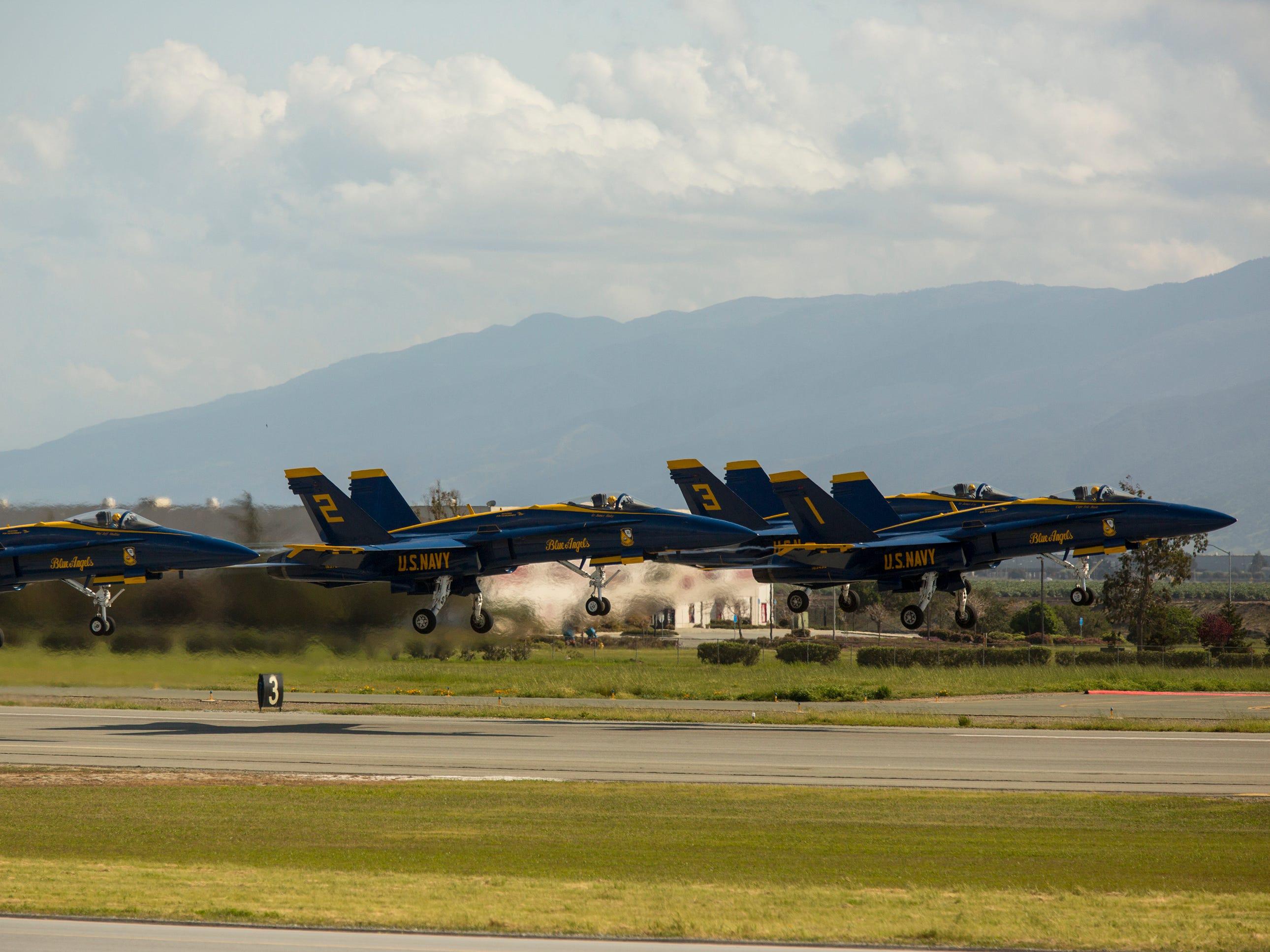 The Blue Angels take flight during the California International Airshow Salinas at the Salinas Airport on March 23, 2019. (Photo by David Royal)