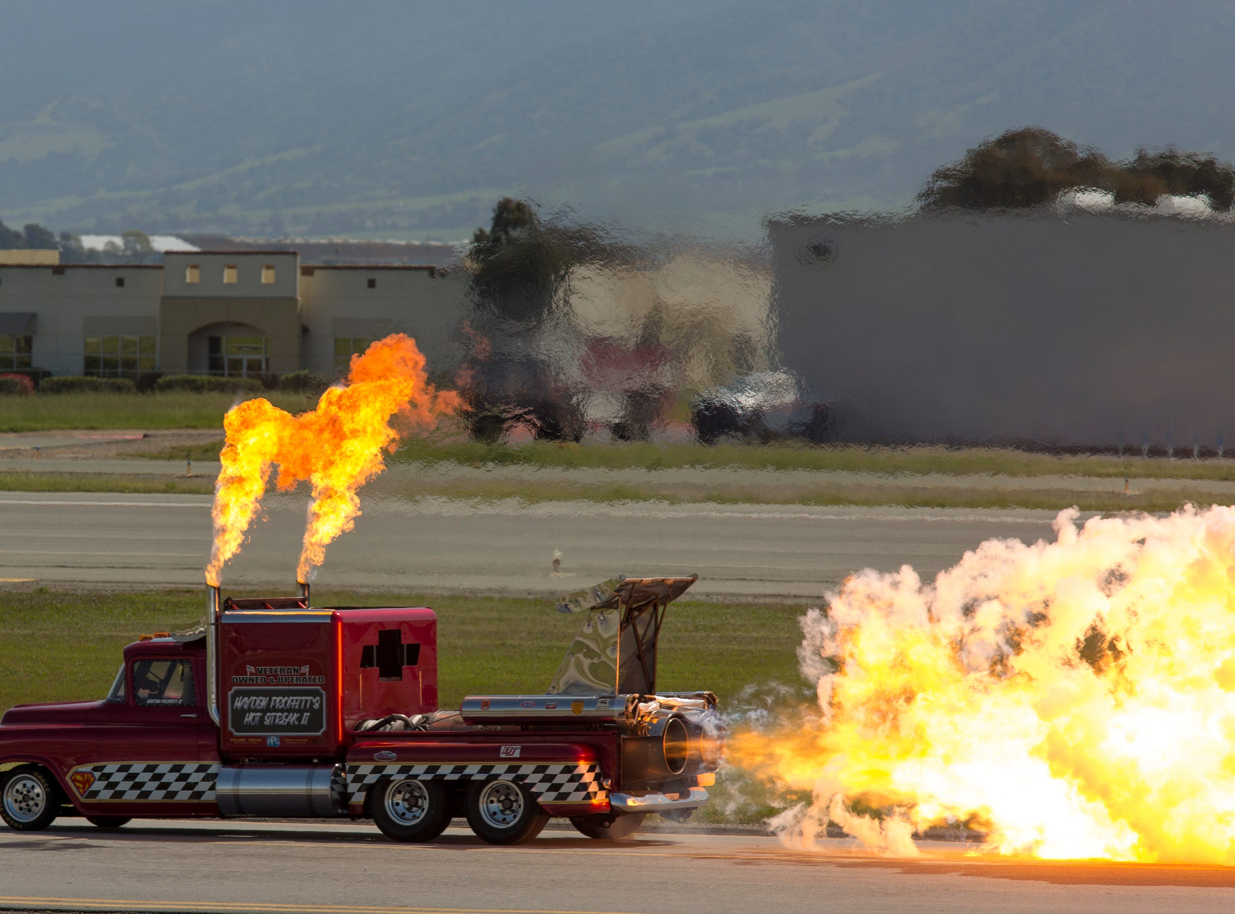 Flames shoot out of the Smoke n Thunder Jet Truck during the California International Airshow Salinas at the Salinas Airport on March 23, 2019. (Photo by David Royal)