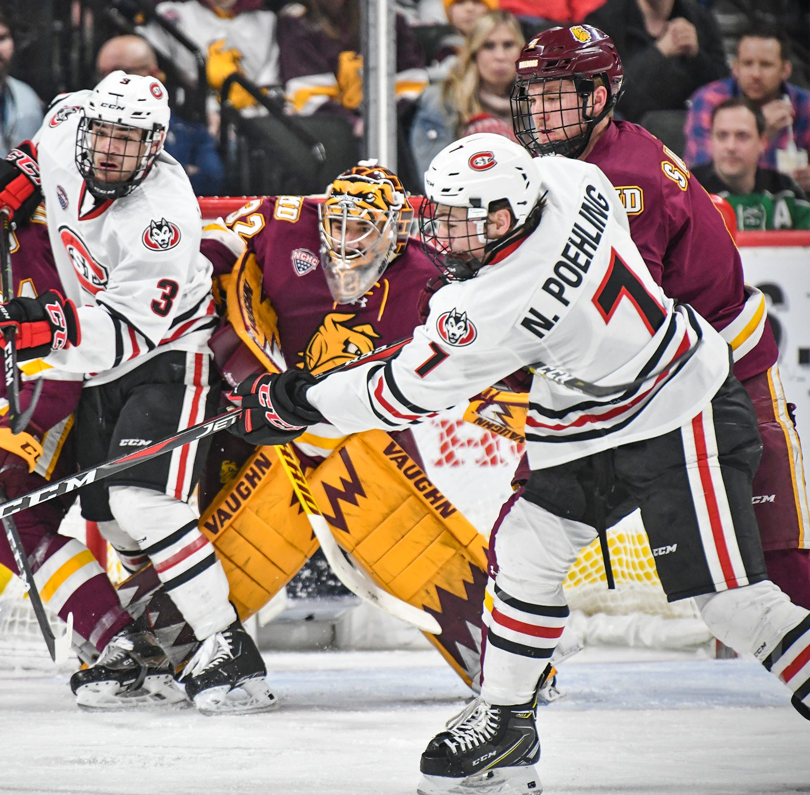 SCSU falls to UMD in double OT, finishes as NCHC Faceoff runner-up