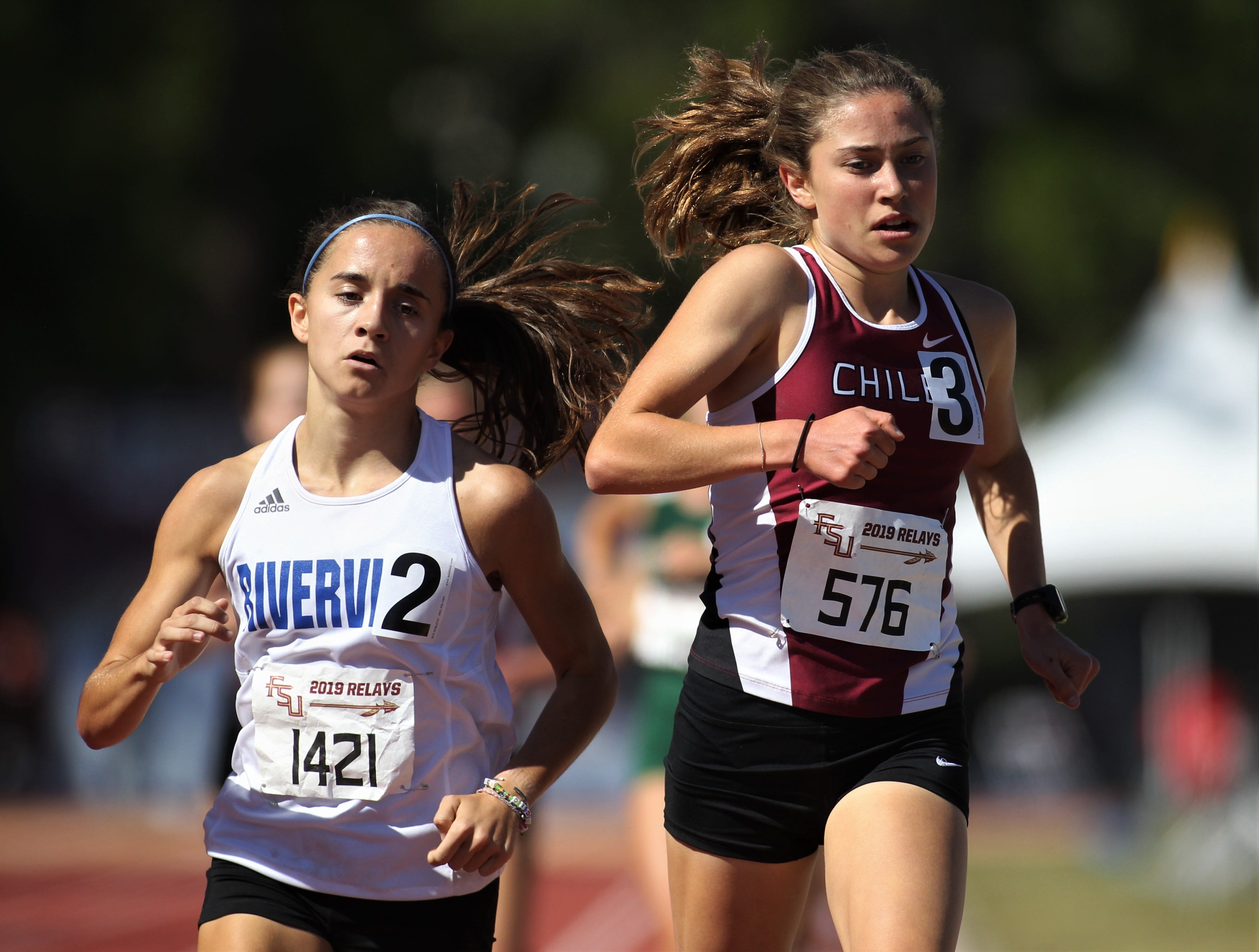 Chiles junior Alyson Churchill runs the 1600 Invite during the 40th annual FSU Relays at Mike Long Track on Saturday, March 23, 2019.