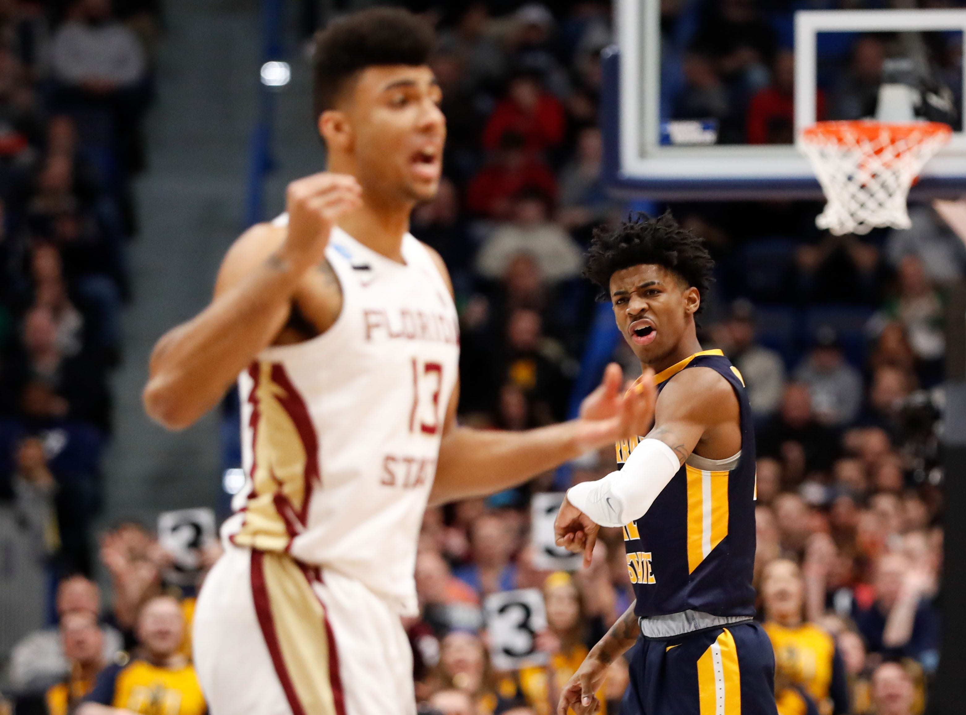 Mar 23, 2019; Hartford, CT, USA; Murray State Racers guard Ja Morant (12) reacts during the first half of a game against the Florida State Seminoles in the second round of the 2019 NCAA Tournament at XL Center. Mandatory Credit: David Butler II-USA TODAY Sports