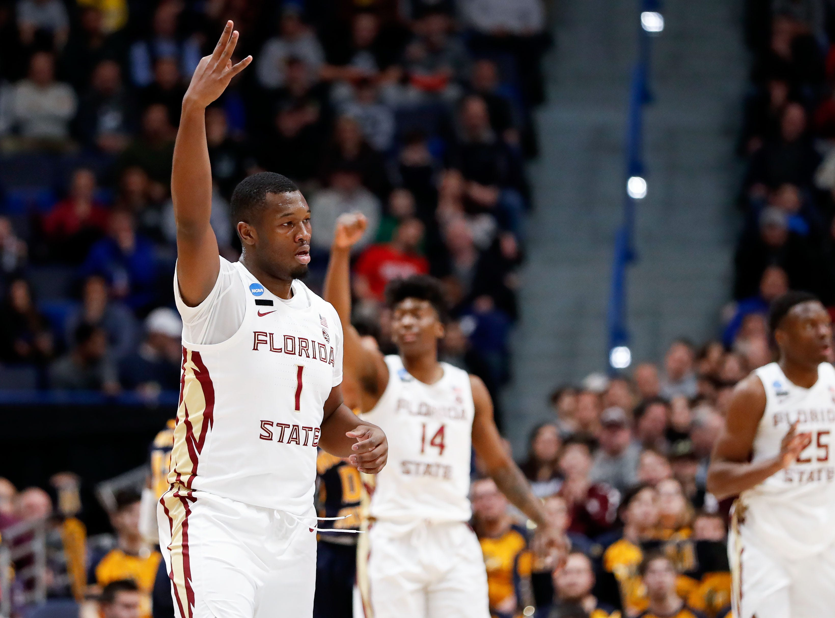 Mar 23, 2019; Hartford, CT, USA; Florida State Seminoles forward Raiquan Gray (1) reacts after a score against the Murray State Racers during the first half of a game in the second round of the 2019 NCAA Tournament at XL Center. Mandatory Credit: David Butler II-USA TODAY Sports