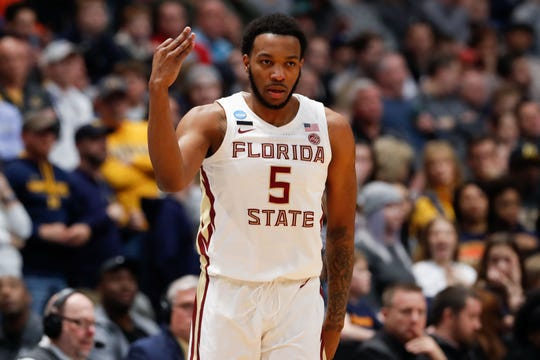 Mar 23, 2019; Hartford, CT, USA; Florida State Seminoles guard PJ Savoy (5) reacts after a score during the first half of a game against the Murray State Racers in the second round of the 2019 NCAA Tournament at XL Center. Mandatory Credit: David Butler II-USA TODAY Sports