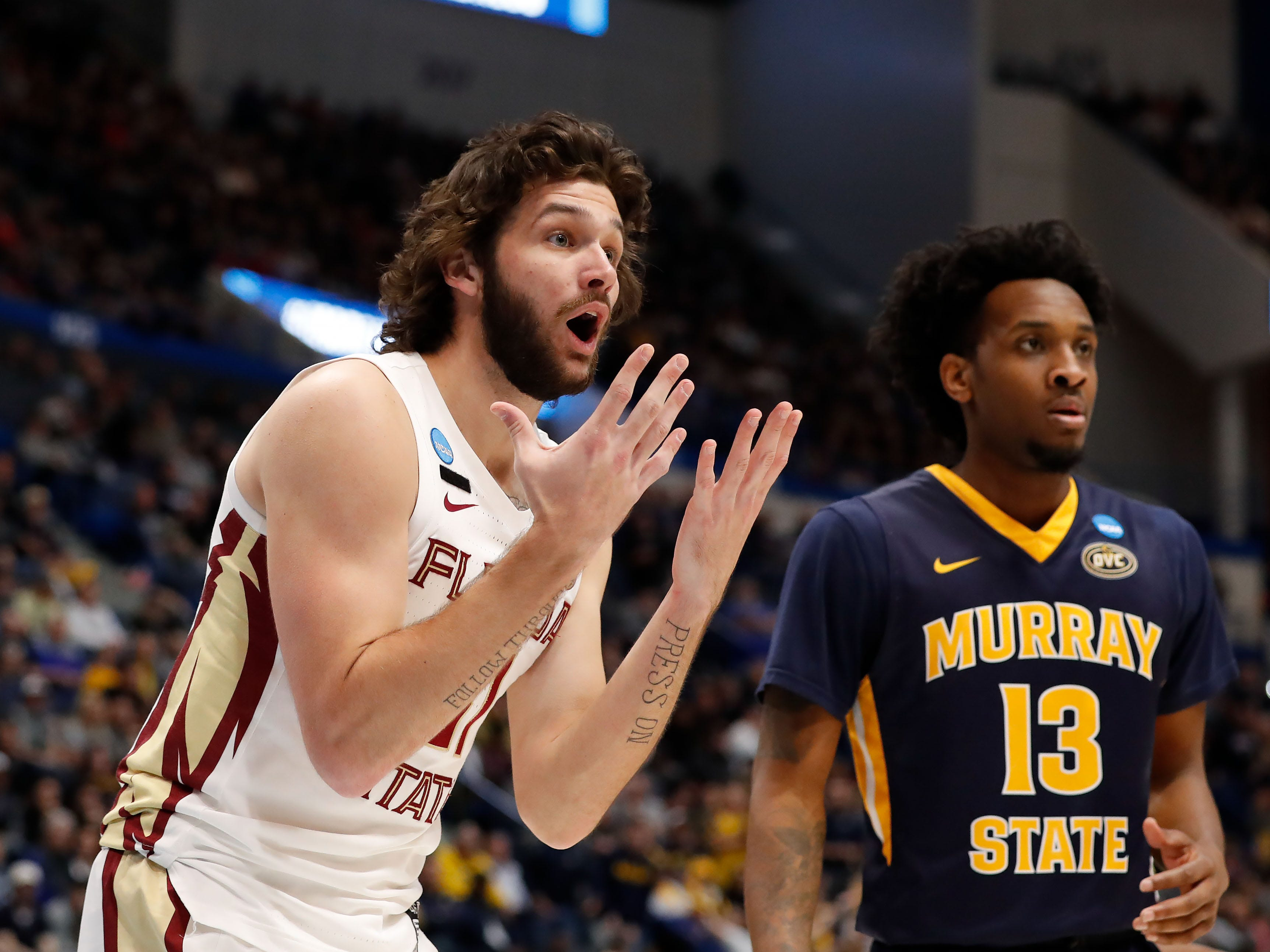 Mar 23, 2019; Hartford, CT, USA; Florida State Seminoles guard Wyatt Wilkes (31) reacts towards an official during the first half of a game against the Murray State Racers in the second round of the 2019 NCAA Tournament at XL Center. Mandatory Credit: David Butler II-USA TODAY Sports