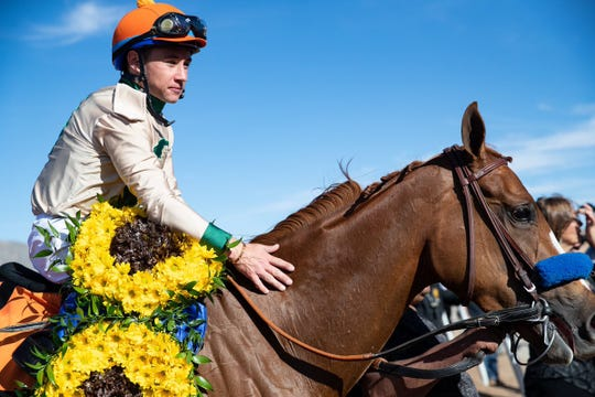 Drayden Van Dyke rode Chasing Yesterday to victory in the 2019 Sunland Oaks on Sunday at Sunland Park Racetrack & Casino.