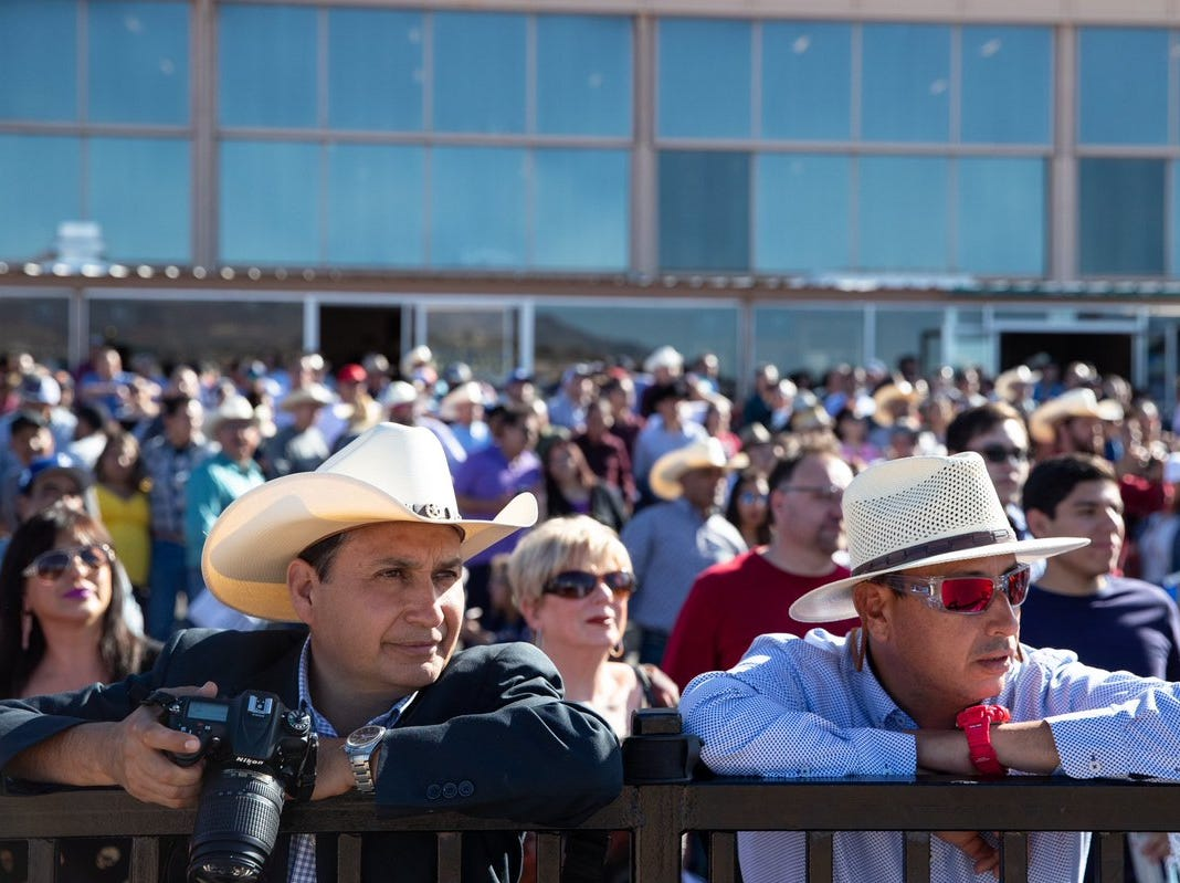 Spectators watch the horses race during the 2019 Sunland Oaks at Sunland Park Racetrack & Casino.