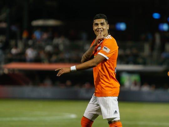 Rio Grande Valley midfielder Jesus Enriquez taunts El Paso Locomotive fans after the game finished at a 2-2 draw.