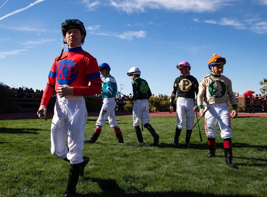 Jockeys at Sunland Park Racetrack & Casino on Sunday.