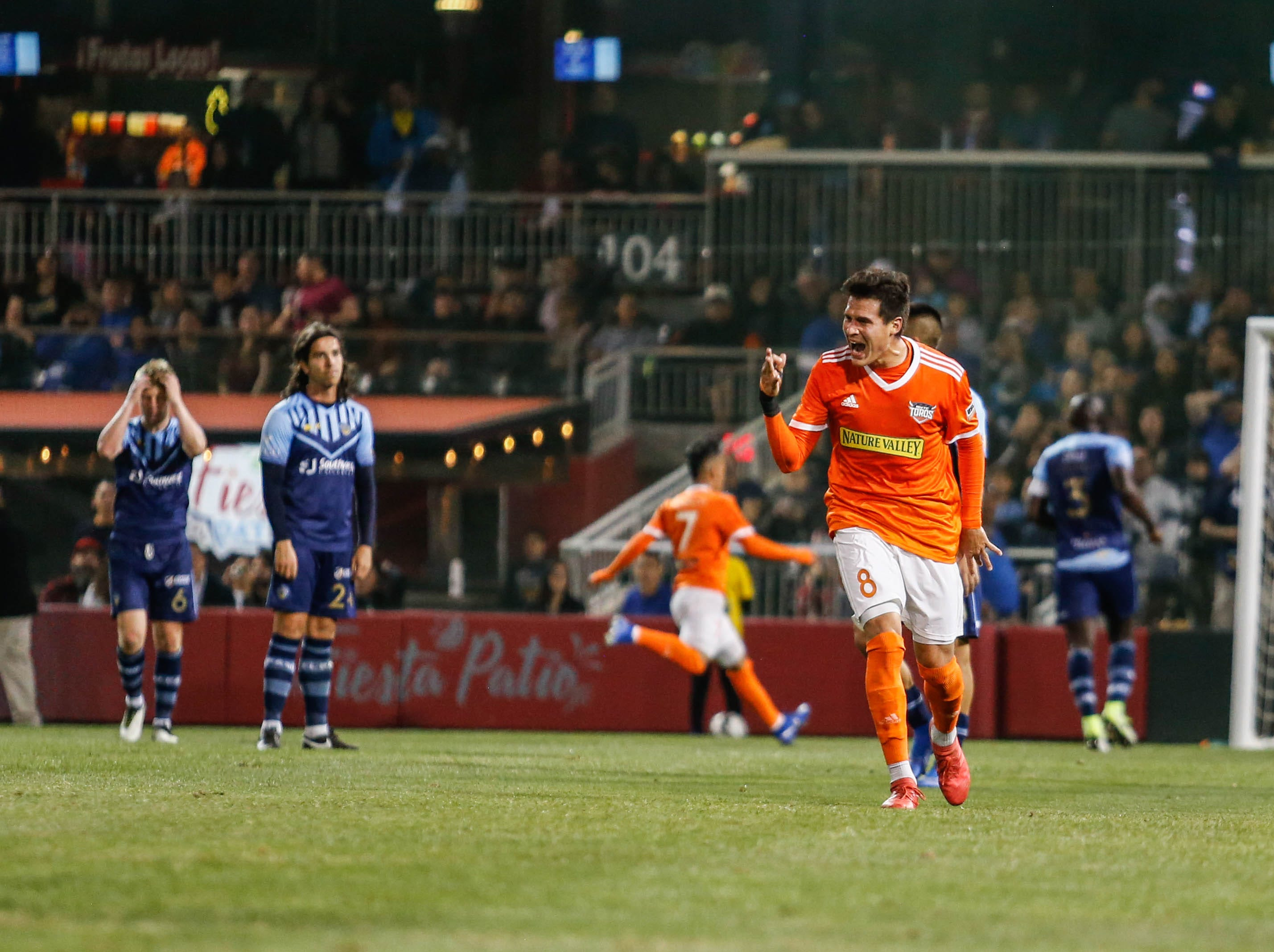 Rio Grande Valley defender Romilio Hernandez celebrates his first goal of the night against the El Paso Locomotive.