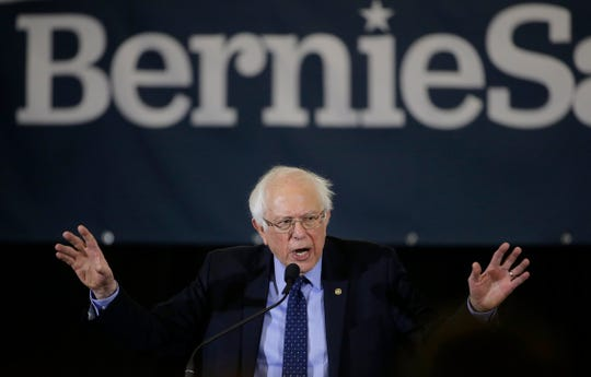 In this March 10 photo Sen. Bernie Sanders addresses a rally during a campaign stop, in Concord, N.H. The 77-year-old Sanders announced his Democratic presidential bid last month, promising a government about economic, social, racial and environmental justice.