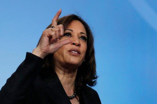In this March 1 photo, Sen. Kamala Harris, D-Calif., speaks at the Black Enterprise Women of Power Summit in Las Vegas.