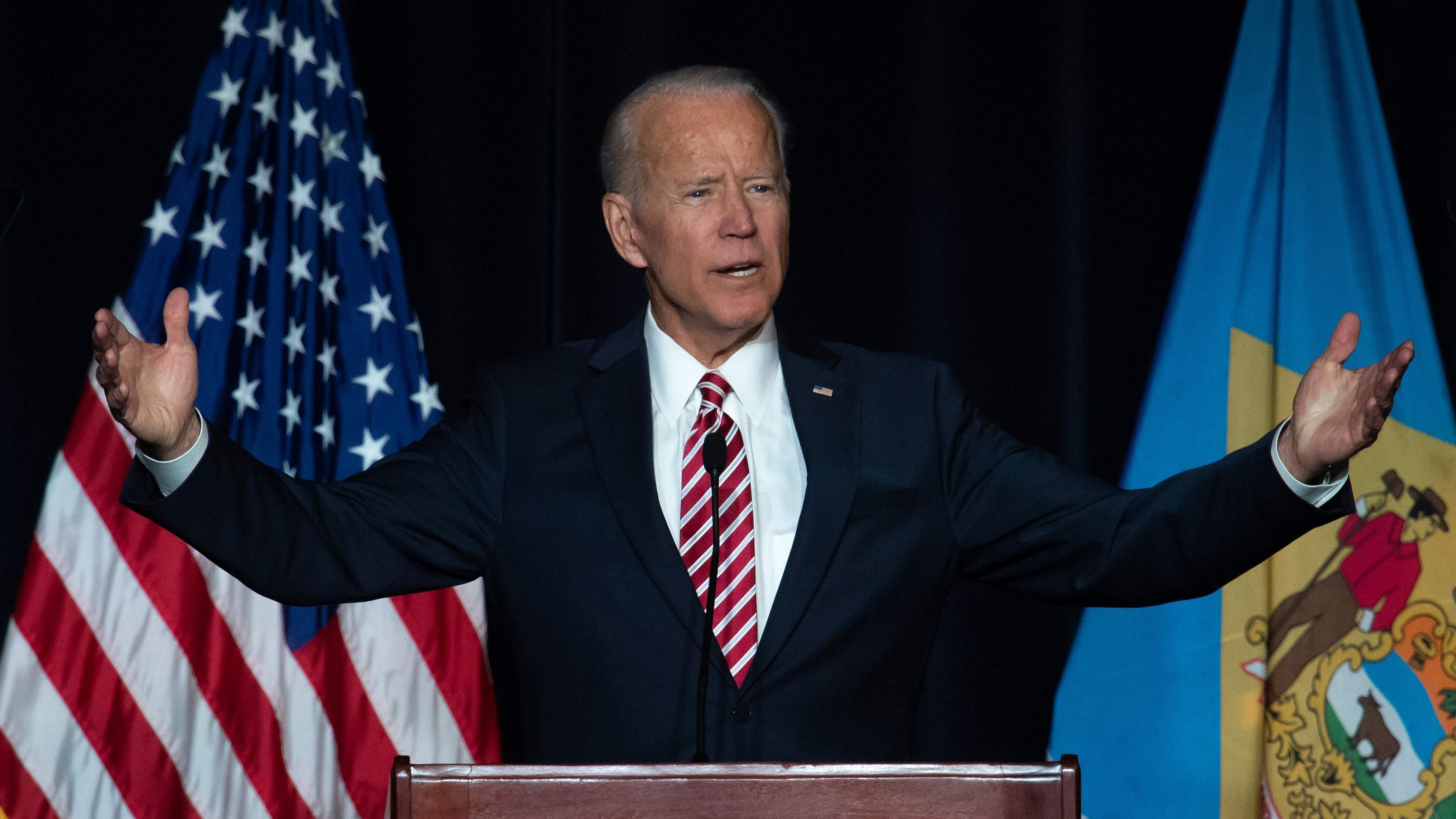 Former Vice President Joe Biden speaks during the First State Democratic Dinner in Dover, Delaware, on March 16, 2019.