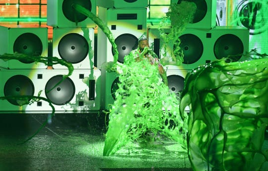 Host DJ Kahled was slimed – a LOT – at the 32nd Annual Nickelodeon Kids' Choice Awards on March 23, 2019, in Los Angeles.