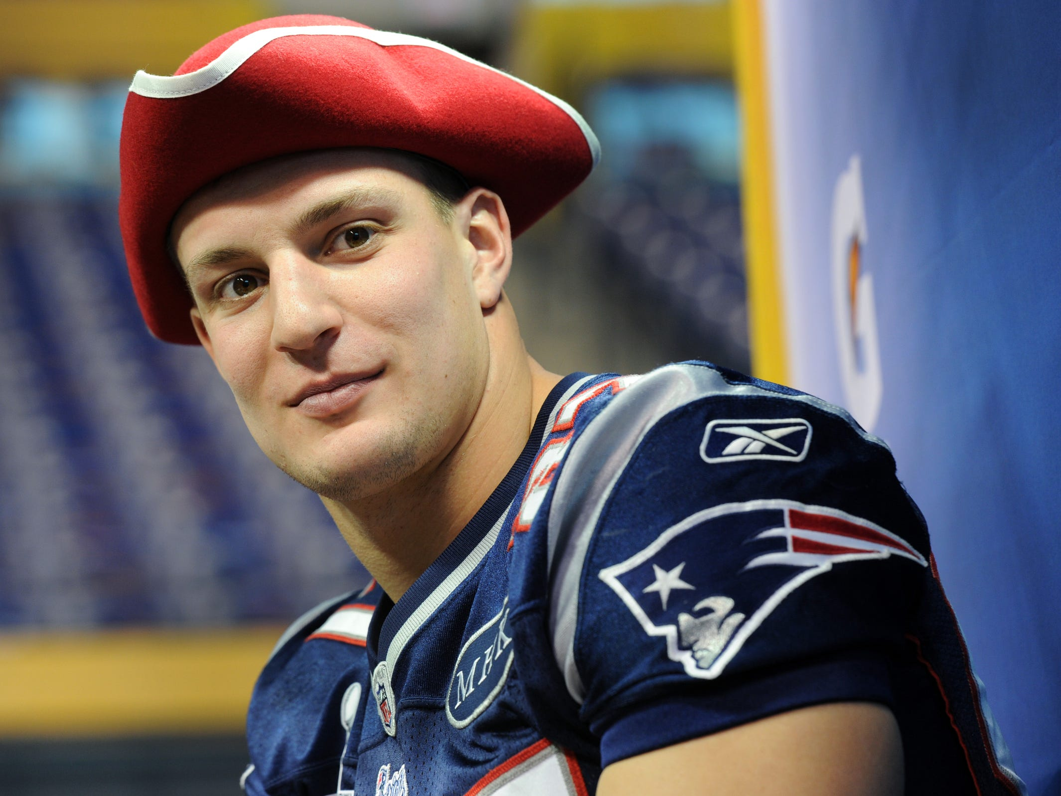 Jan. 31, 2012: Rob Gronkowski answers questions during Super Bowl XLVI Media Day at the Lucas Oil Stadium in Indianapolis.