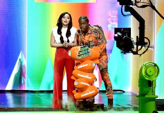 Lana Condor and Shameik Moore onstage at Nickelodeon's 2019 Kids' Choice Awards.