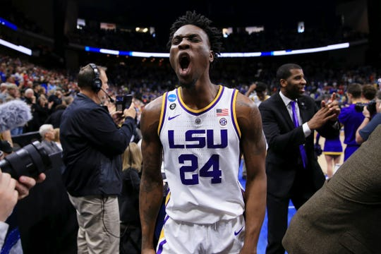 LSU forward Emmitt Williams celebrates the Tigers' second-round NCAA tournament win over Maryland last weekend.