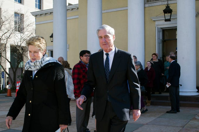 Special Counsel Robert Mueller, and his wife Ann, leave St. John's Episcopal Church, across from the White House, after attending morning services, in Washington on March 24, 2019.