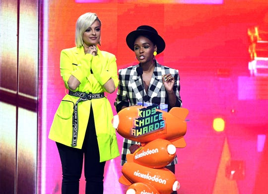 Bebe Rexha, left, and Janelle Monae onstage at Nickelodeon's 2019 Kids' Choice Awards at Galen Center on March 23, 2019, in Los Angeles.