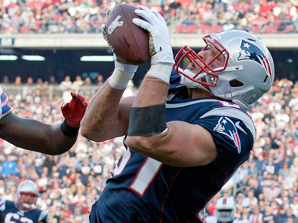 Nov. 11, 2012: Rob Gronkowski catches a touchdown pass during the second quarter at Gillette Stadium.