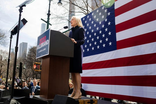 Sen. Kirsten Gillibrand, D-N.Y., speaks at the kickoff of her presidential campaign, Sunday, March 24, 2019, near the Trump International Hotel and Tower in New York.