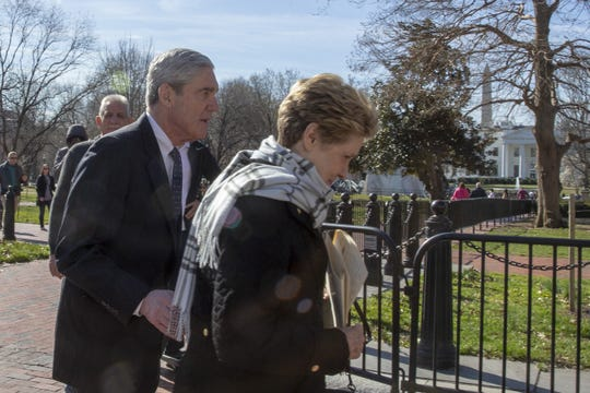 Special counsel Robert Mueller and his wife, Ann, attend church across from the White House on March 24, 2019.
