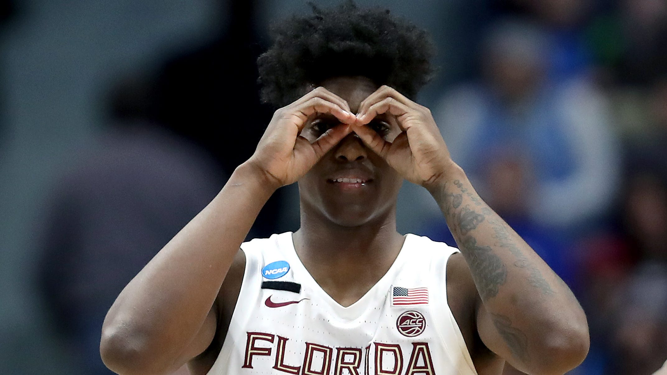 Terance Mann #14 of the Florida State Seminoles celebrates the play against the Murray State Racers in the second half during the second round of the 2019 NCAA Men's Basketball Tournament at XL Center on March 23, 2019 in Hartford, Connecticut.