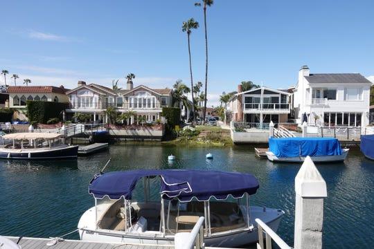 A Duffy boat, docked in Newport Beach harbor