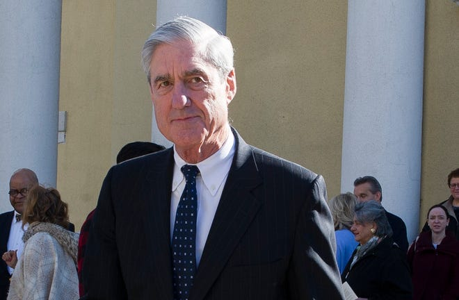 Special counsel Robert Mueller departs St. John's Episcopal Church, across from the White House, after attending morning services, in Washington, March 24, 2019.