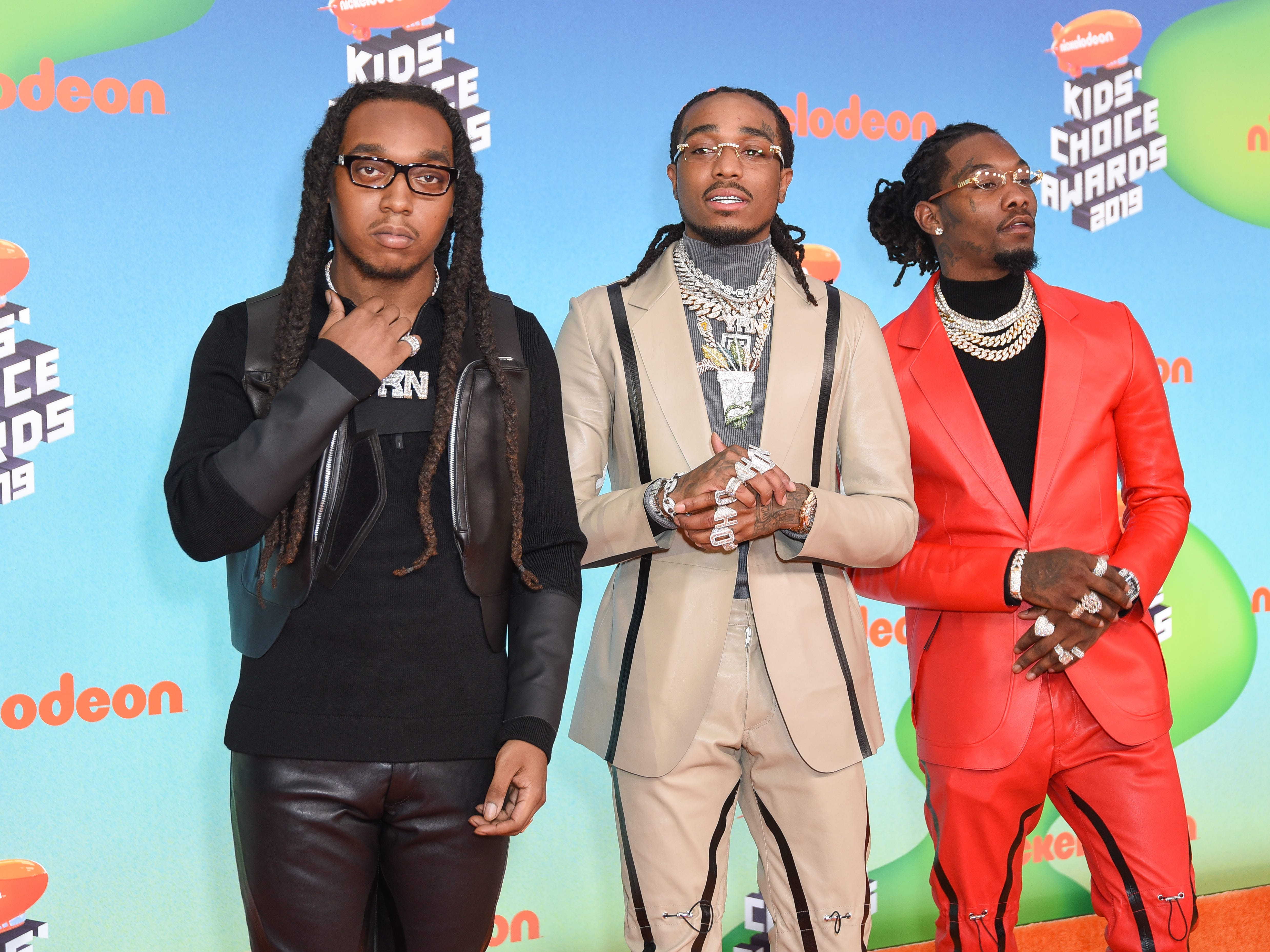 LOS ANGELES, CALIFORNIA - MARCH 23: Offset, Takeoff, and Quavo of Migos attend Nickelodeon's 2019 Kids' Choice Awards  at Galen Center on March 23, 2019 in Los Angeles, California. (Photo by Presley Ann/FilmMagic) ORG XMIT: 775314636 ORIG FILE ID: 1137886062