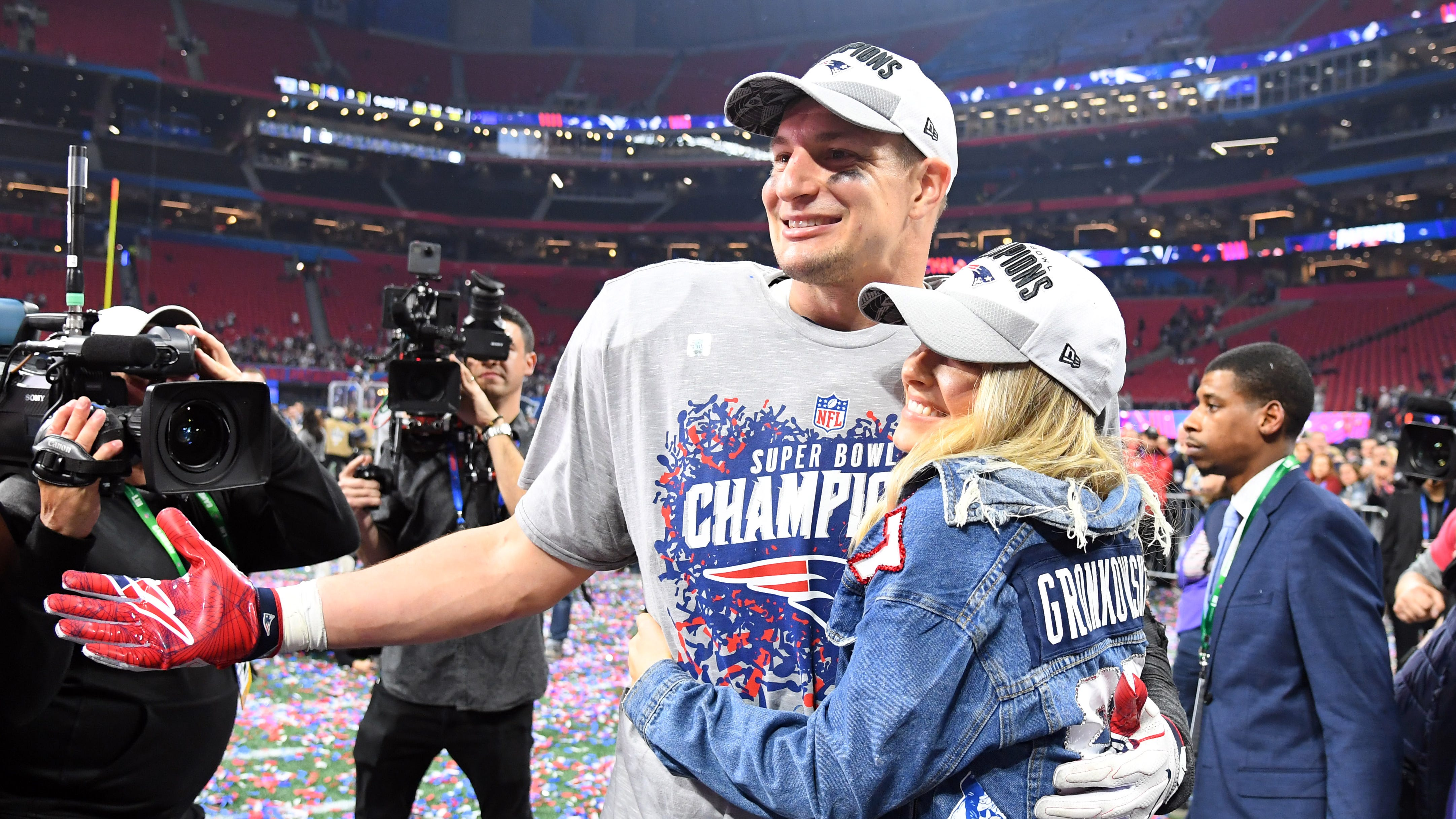 Rob Gronkowski celebrates the Patriots' Super Bowl championship last month with girlfriend Camille Kostek after the Pats defeated the Los Angeles Rams at Mercedes-Benz Stadium in Atlanta.