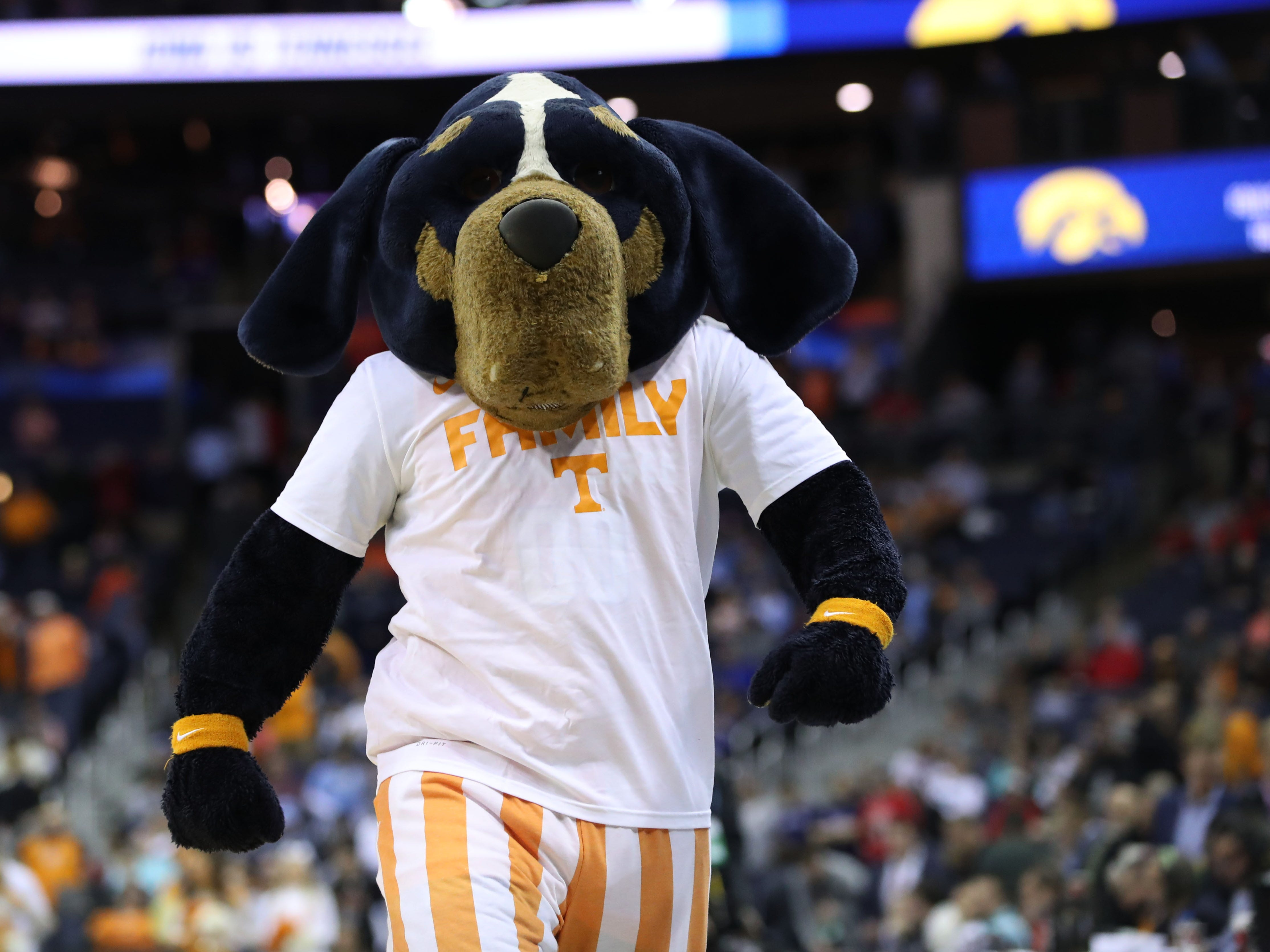 Round of 32: Tennessee Volunteers mascot Smokey performs before the game against the Iowa Hawkeyes.