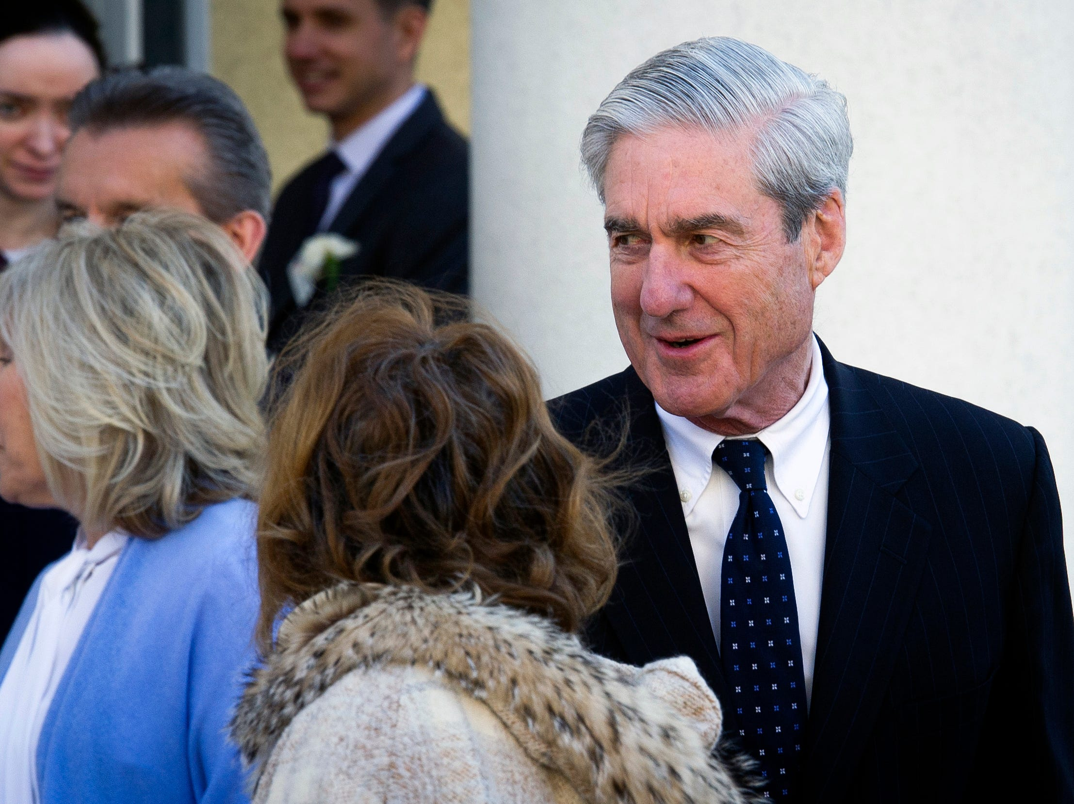 Robert Mueller departs St. John's Episcopal Church, across from the White House, after attending services, in Washington on March 24, 2019.