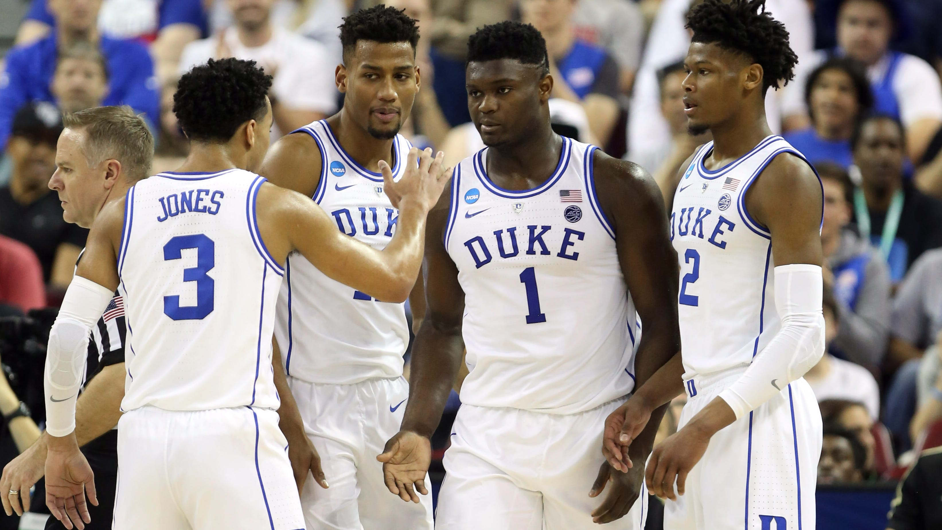Duke forward Zion Williamson (1) celebrates with teammates against Central Florida during the second round of the 2019 NCAA tournament.