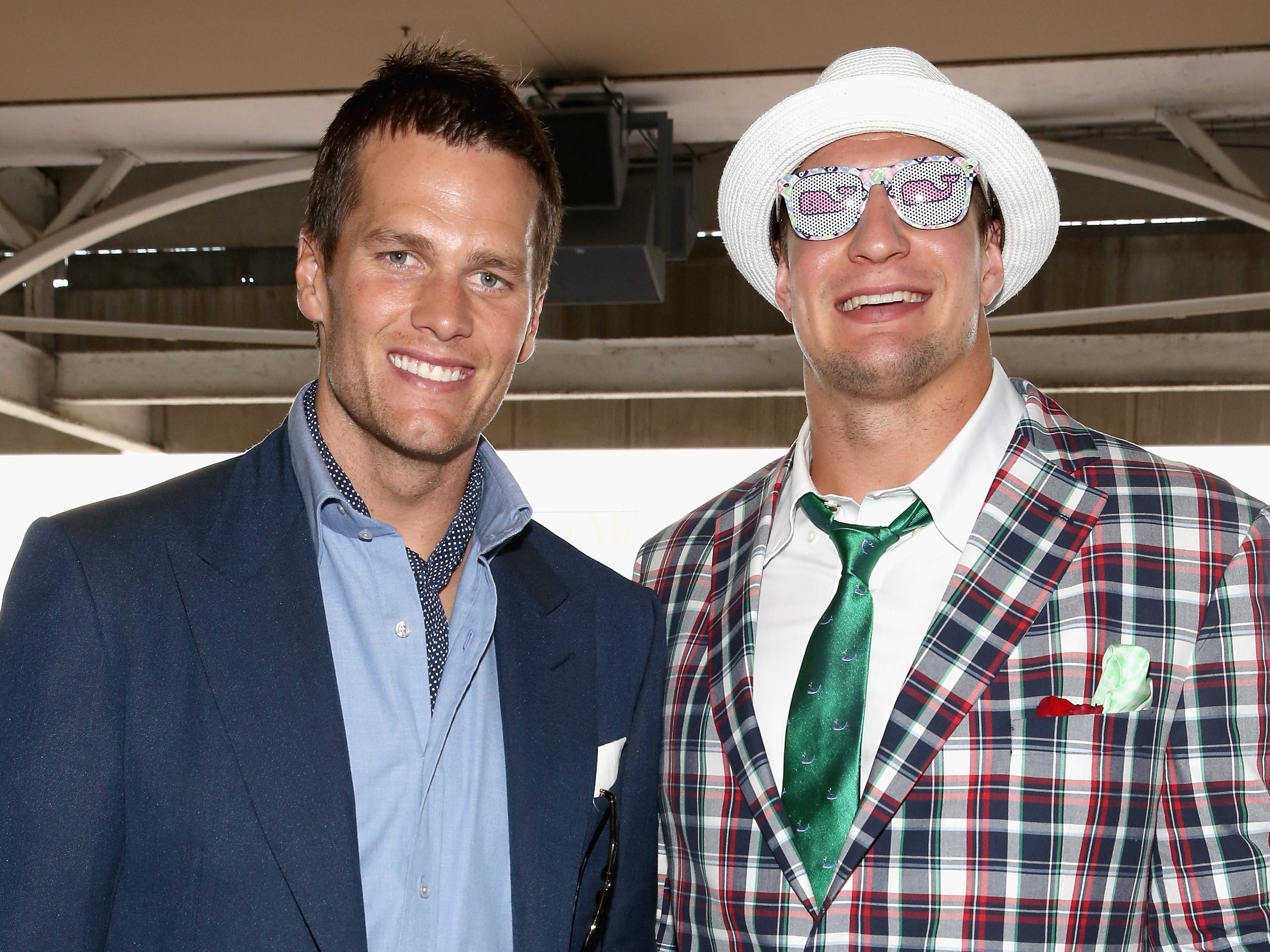 May 2, 2015: Tom Brady and Rob Gronkowski attend the 141st Kentucky Derby at Churchill Downs.
