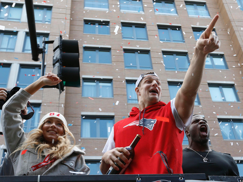 Feb. 5, 2019: Rob Gronkowski waves to the crowd during the Super Bowl LIII championship parade through downtown Boston.