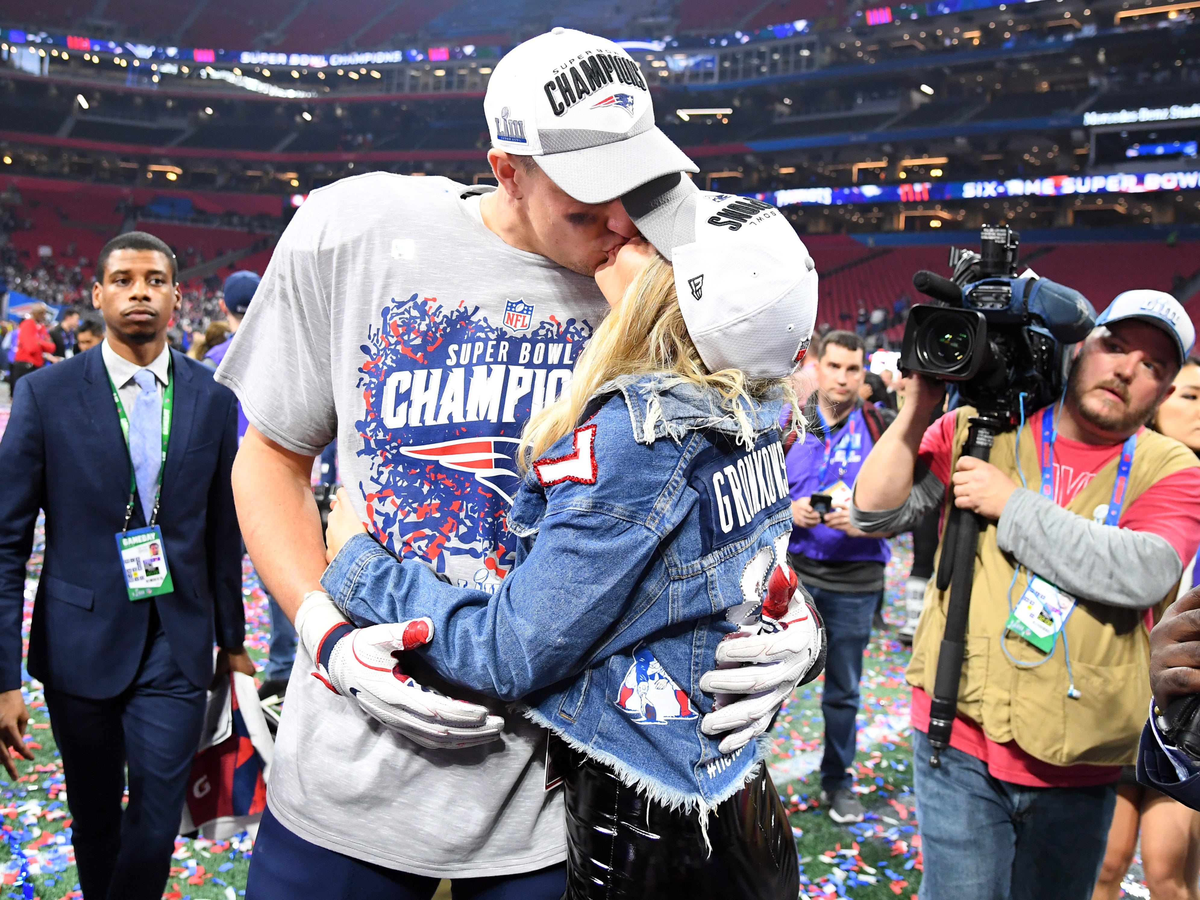 Feb. 3, 2019: Rob Gronkowski with girlfriend Camille Kostek after winning Super Bowl LIII against the Los Angeles Rams at Mercedes-Benz Stadium.