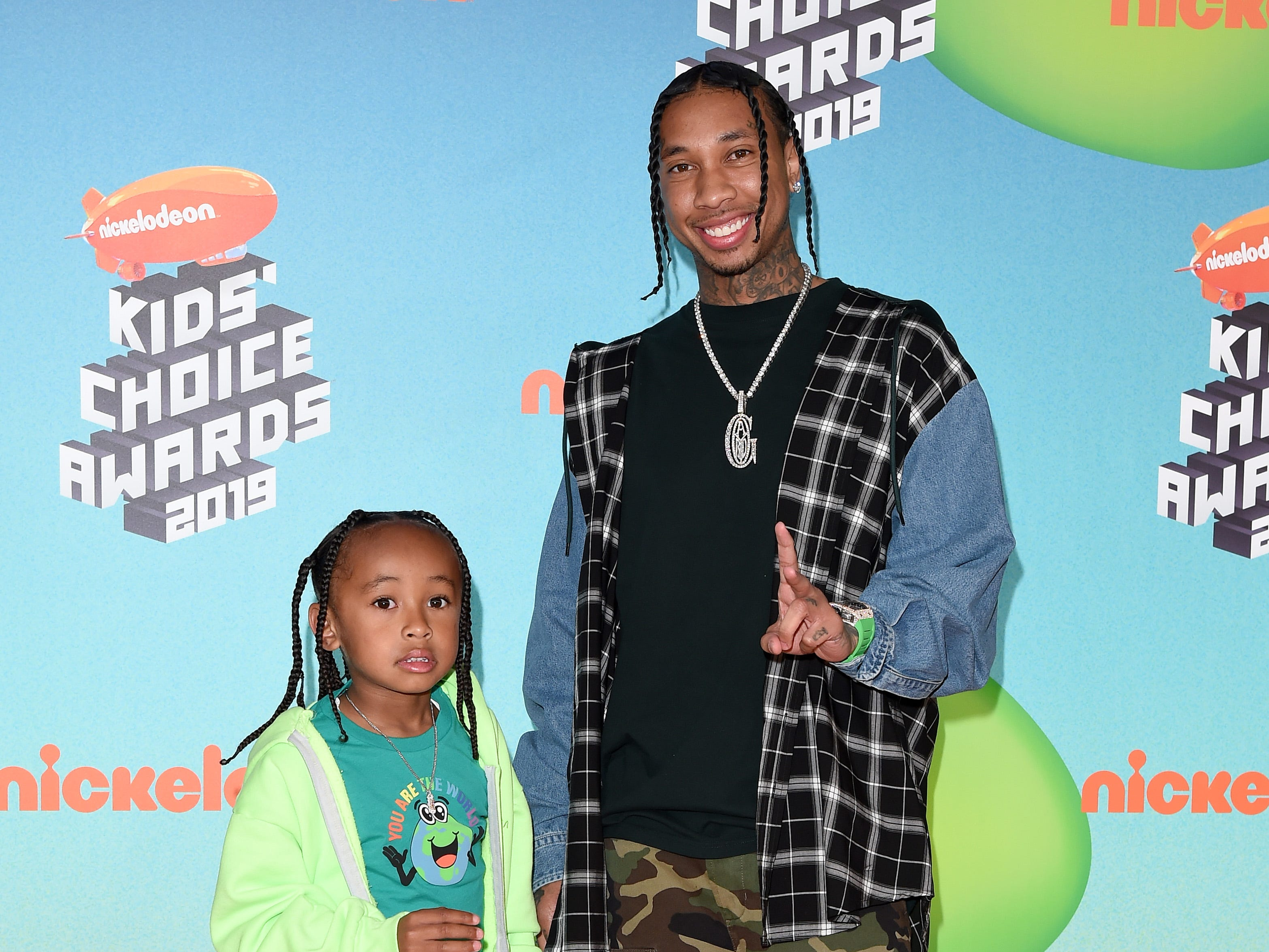 LOS ANGELES, CALIFORNIA - MARCH 23: Tyga and King Cairo Stevenson attend Nickelodeon's 2019 Kids' Choice Awards at Galen Center on March 23, 2019 in Los Angeles, California. (Photo by Axelle/Bauer-Griffin/FilmMagic) ORG XMIT: 775314636 ORIG FILE ID: 1137875567