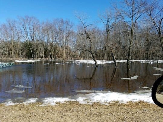 A pier near Barker Park in Shiocton broke away during recent ice flows.