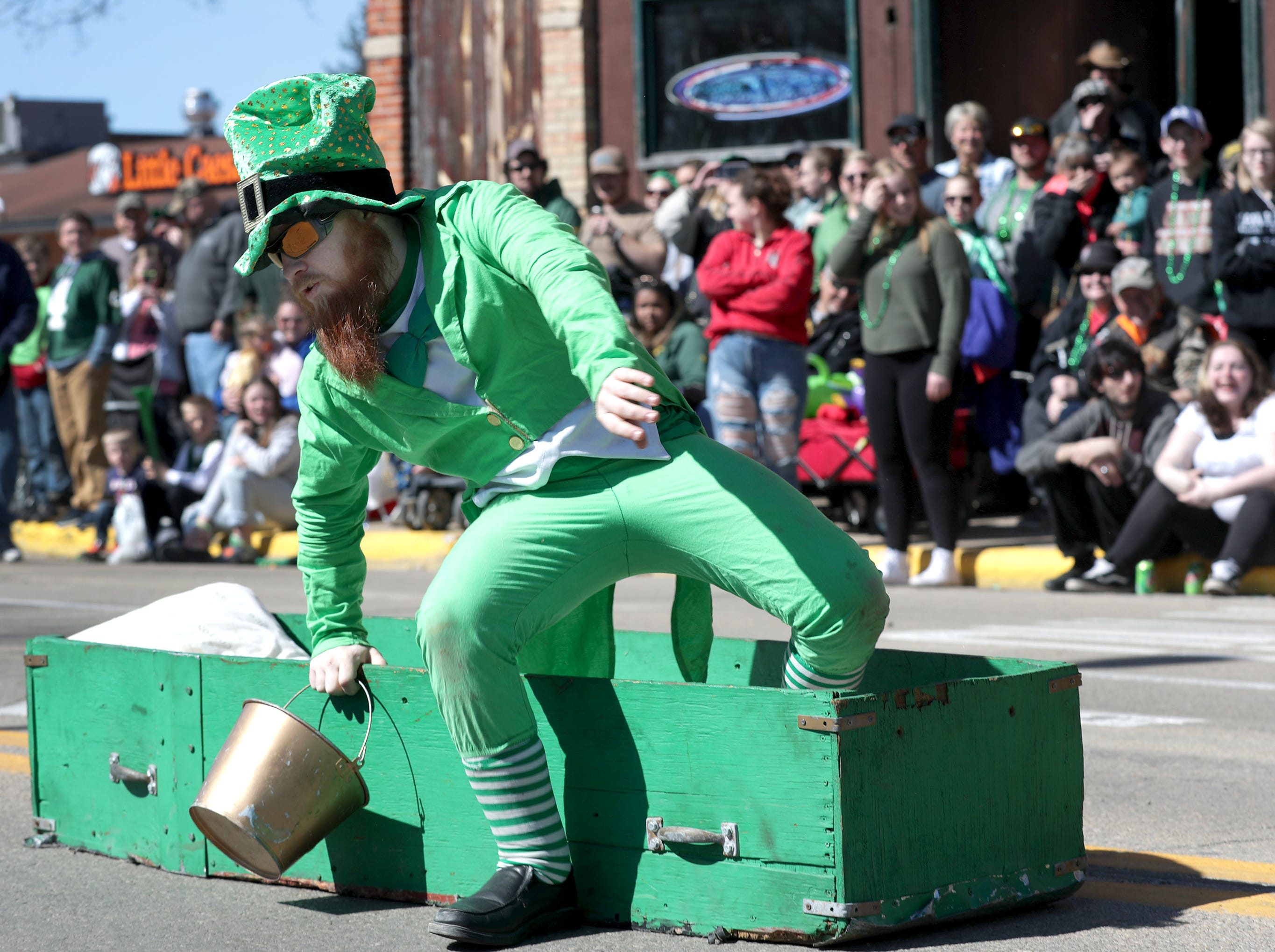 The Finnegans Wake float during the New Dublin St. Patrick's Day Grand Parade on Saturday, March 23, 2019, in New London, Wis.Wm. Glasheen/USA TODAY NETWORK-Wisconsin.