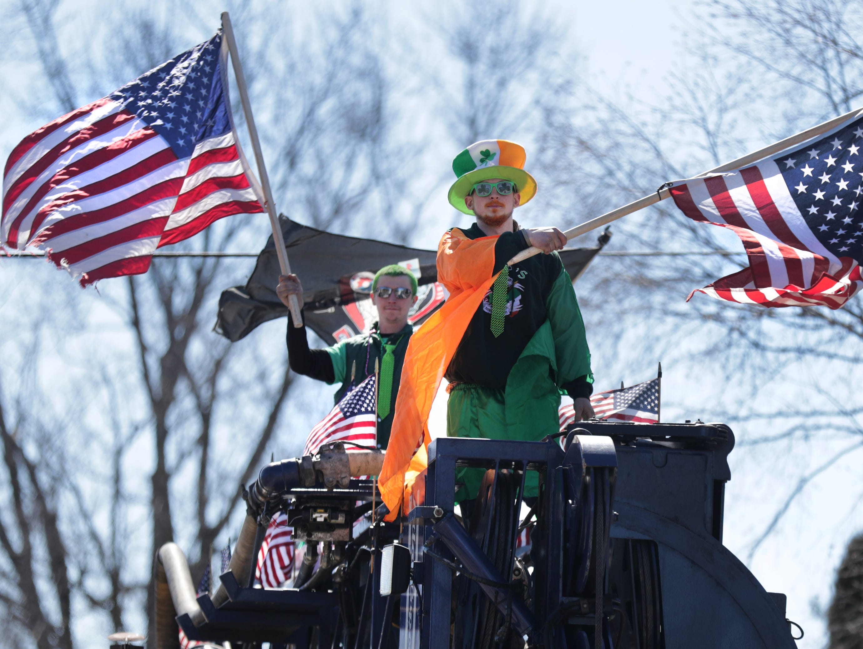 JW Hinske, front, and Houston Schroeder during the New Dublin St. Patrick's Day Grand Parade on Saturday, March 23, 2019, in New London, Wis.Wm. Glasheen/USA TODAY NETWORK-Wisconsin.
