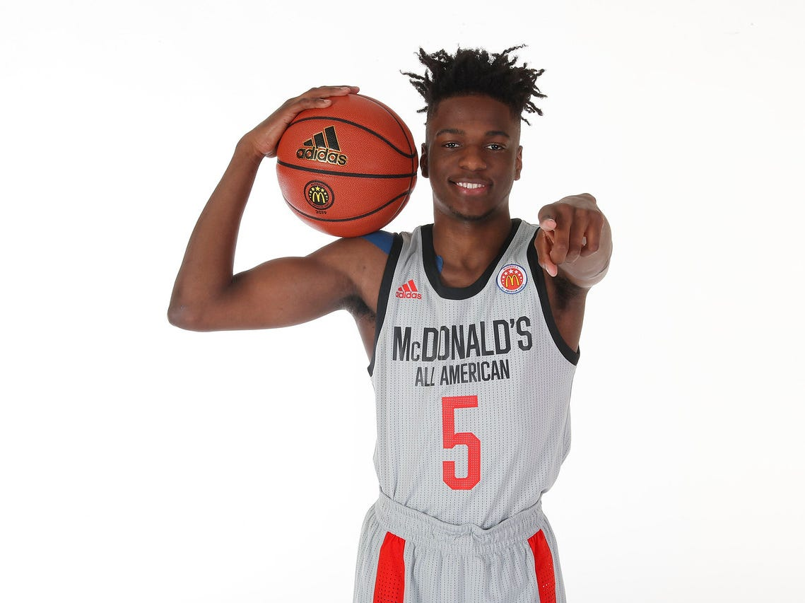 Mar 23, 2019; Atlanta, GA, USA; McDonalds High School All American guard Bryan Antoine (5) poses for a photo on portrait day at the Hilton Hotel Crystal Ball Room before the 2019 McDonalds All American Game. Mandatory Credit: Brian Spurlock-McDonalds