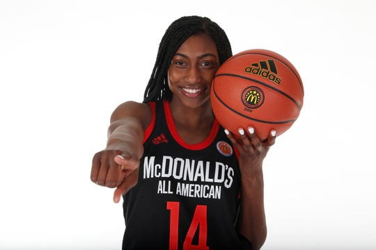 Mar 23, 2019; Atlanta, GA, USA; McDonalds High School All American guard Diamond Miller (14) poses for a photo on portrait day at the Hilton Hotel Crystal Ball Room before the 2019 McDonalds All American Game. Mandatory Credit: Brian Spurlock-McDonalds