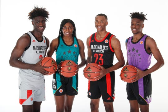 Mar 23, 2019; Atlanta, GA, USA; From left to right McDonalds High School All Americans forward Kahlil Whitney (2) and guard Diamond Miller (14) and guard Scottie Lewis (23) and guard Bryan Antoine (5) who are all from the state of New Jersey pose for a group photo on portrait day at the Hilton Hotel Crystal Ball Room before the 2019 McDonalds All American Game. Mandatory Credit: Brian Spurlock-McDonalds