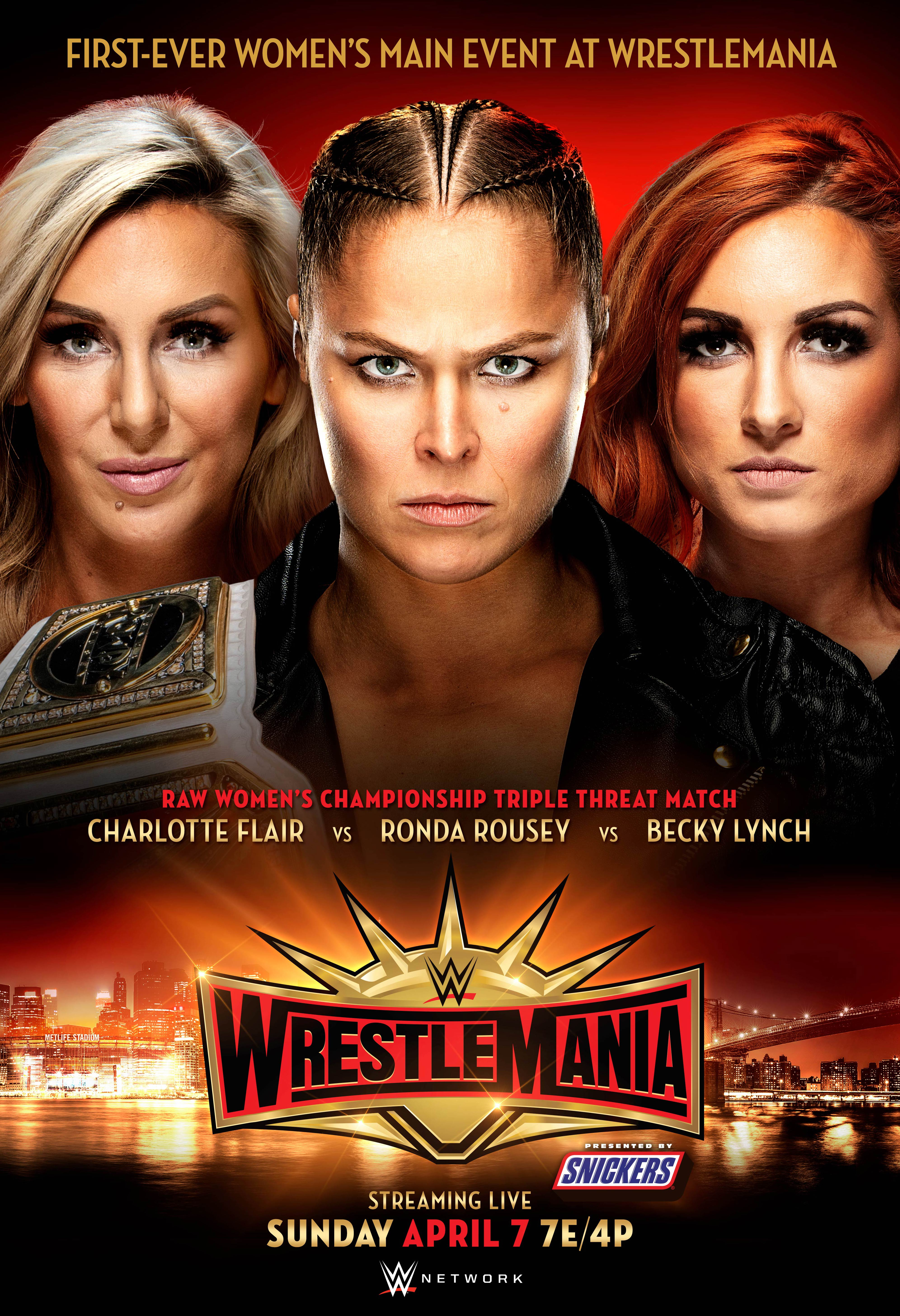 A graphic provided by WWE for the main event of WrestleMania 35, featuring Charlotte Flair, Ronda Rousey and Becky Lynch.