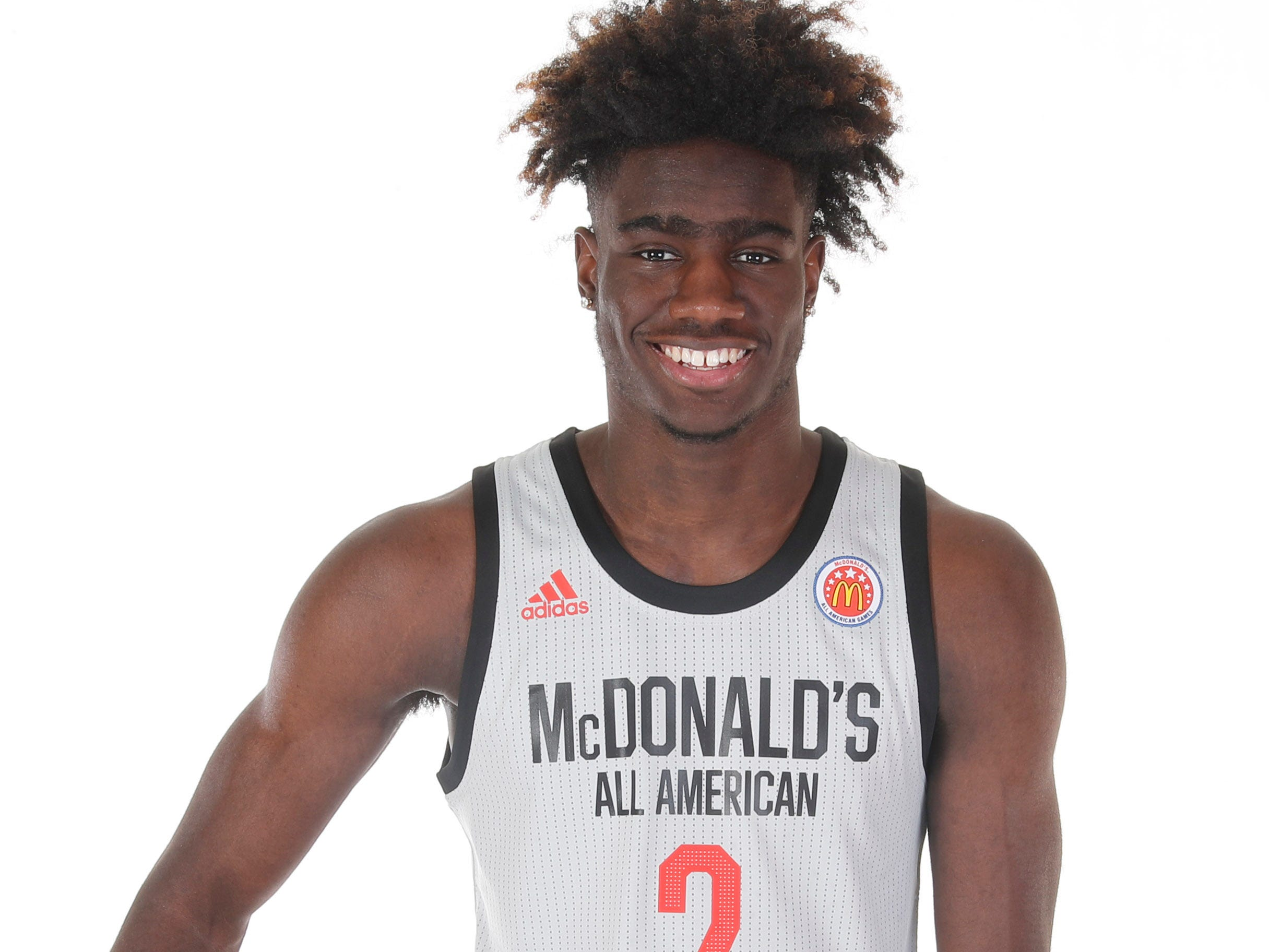 Mar 23, 2019; Atlanta, GA, USA; McDonalds High School All American forward Kahlil Whitney (2) poses for a photo on portrait day at the Hilton Hotel Crystal Ball Room before the 2019 McDonalds All American Game. Mandatory Credit: Brian Spurlock-McDonalds