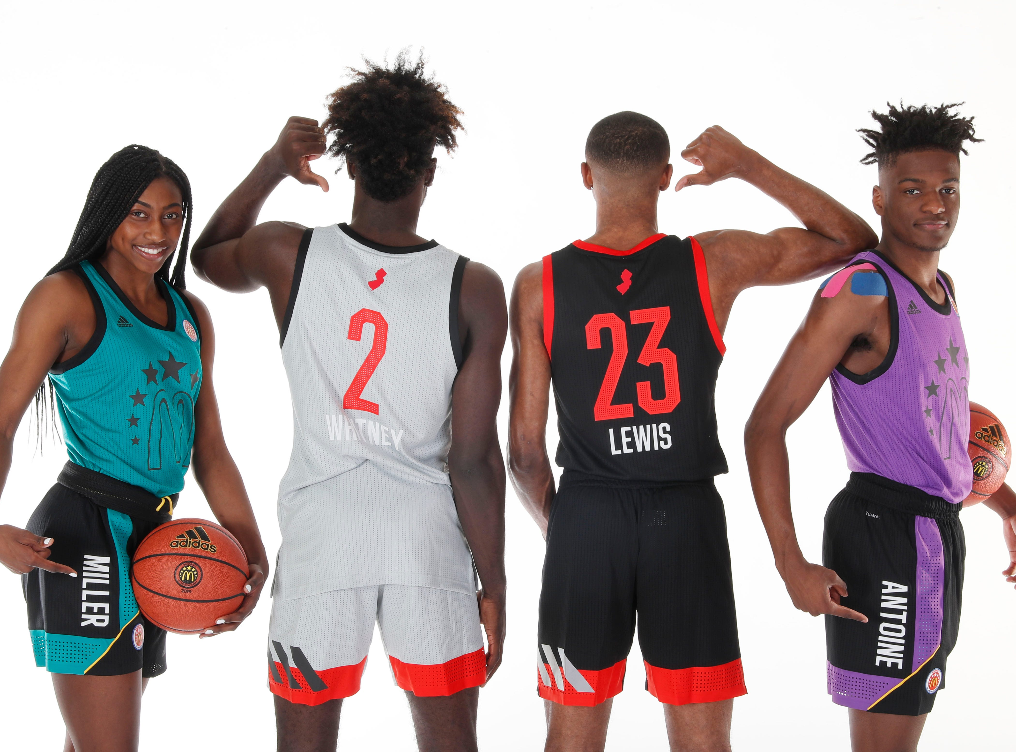 Mar 23, 2019; Atlanta, GA, USA; From left to right McDonalds High School All Americans guard Diamond Miller (14) and forward Kahlil Whitney (2) and guard Scottie Lewis (23) and guard Bryan Antoine (5) who are all from the state of New Jersey pose for a group photo on portrait day at the Hilton Hotel Crystal Ball Room before the 2019 McDonalds All American Game. Mandatory Credit: Brian Spurlock-McDonalds
