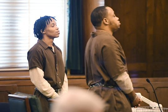 Frederick Nathaniel Simpson, left, and Travoscia Herbell Brown plead guilty to voluntary manslaughter in the November 2016 shooting death of Travis Mayfield at the Buncombe County Courthouse on March 25, 2019.